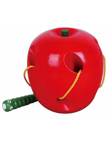 Drewniana przewlekanka jabłko z robakiem