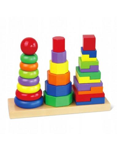 Drewniana układanka piramida 3 wieże
