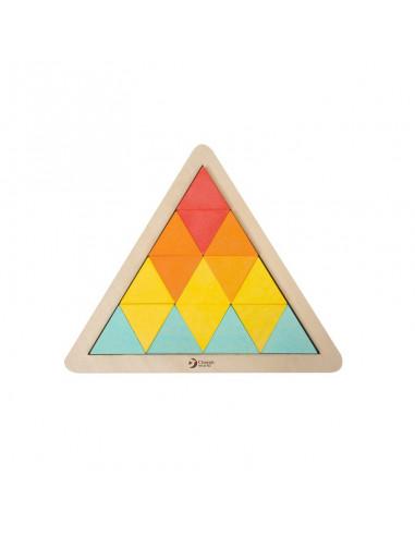 Drewniane klocki trójkąty układanka...