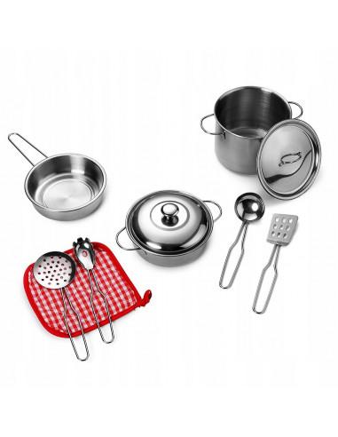 Metalowe garnki do kuchni dla dzieci